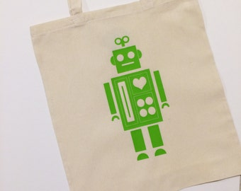 Robot Tote Bag With Optional Personalisation