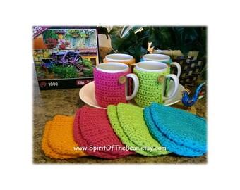 Set of 4, Mug Cozy, Hot Brights, Crocheted Mug Cozy, Coffee Mug Cozy, Handmade Mug Cozy, Tea Mug Cozy, Hot Pink, Hot Blue, Hot Lime, Orange