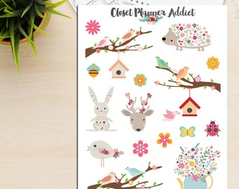 Cute Animals and Flowers Planner Stickers (S-127)