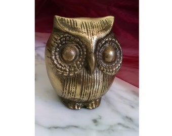 Vintage Brass Owl Figure, Small Animal Statue, Owl Desk Ornament, Owl Paper Weight, Brass Owl Figurine Statue, Mid Century Brass Animal