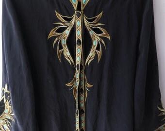 Vintage silk Kimono style jacket /// Gold detail