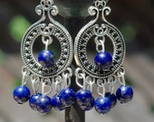 Lapis Lazuli Chandelier Earrings ~ Boho Jewelry ~ Bohemian Blue Stones ~ Healing Stones ~ Semi Precious ~ Blue Stone Jewelry ~ Gift for Her