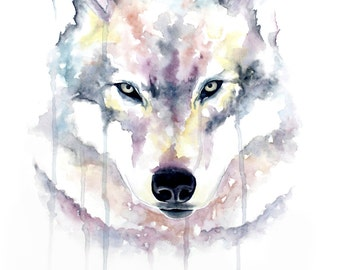 Watercolour Wolf Print
