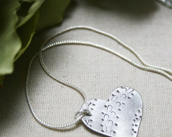 Beautiful Sterling Silver Hand-stamped Heart Pendant