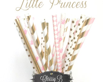 Pink and Gold Princess Party Straws (PERFECTLY PRETTY Theme) Pack of 25 Straws  - Polka Dots, Gold Foil, Crown - Pink and Gold Party Decor