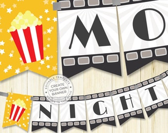 Film night party banner template, editable DIY banner, movie party, night at the oscars, popcorn banner, party bunting, DIGITAL download PDF