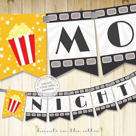 Film Night Party Banner Template Editable DIY Movie