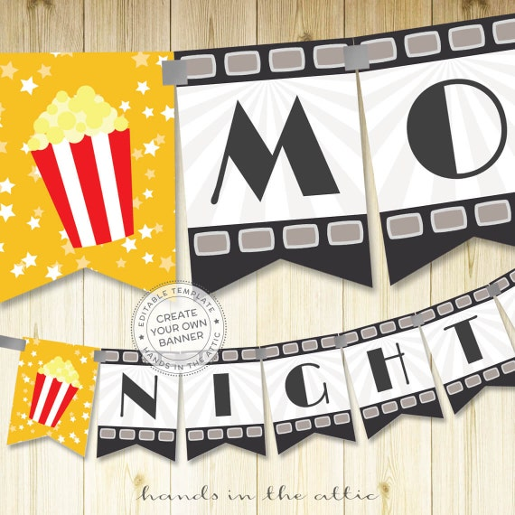 film night party banner template editable diy banner movie. Black Bedroom Furniture Sets. Home Design Ideas