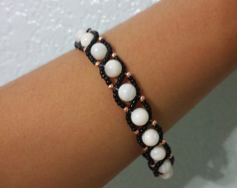 Beaded Black and White Bracelet