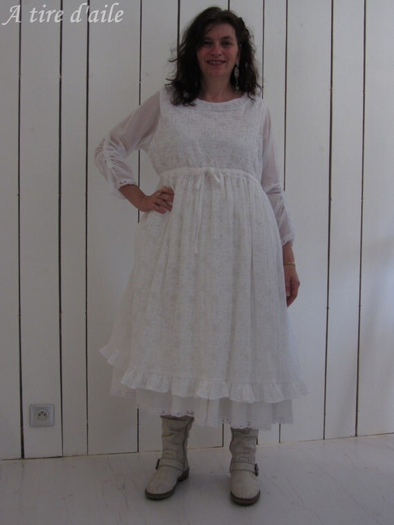 Robe blanche romantique et dentelles shabby style by for Robe romantique dentelle
