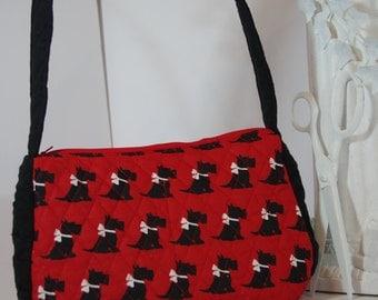 Scotty dog purse Scotty dog satchel top handle Scotty dog quilted bag Scotty dogs scotty dogs scotty dog red black