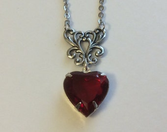Ruby Red Heart Necklace, Valentines Day Necklace