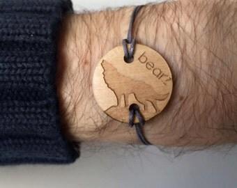 Bearz round Wolf bracelet