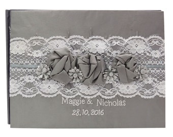 Wedding Guest Book, 50 Pages, Custom Guest Book Wedding, Lace Guest Book, Personalized Guest Book, Satin Guestbook GB50
