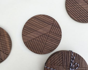 Geometric wood coasters / midcentury coasters/ etched wood line drawings / minimal coasters /geometric coasters / Art Deco / modern decor /