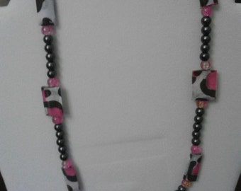 Fabulous Fun Pink/Black/Leopard Print Paper and Glass Bead Necklace