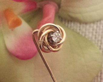 Vintage 14k Love Knot Diamond Stick Pin, 14k Love Knot and Diamond Stick Pin