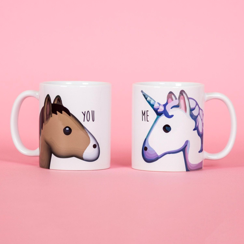 unicorn and horse you and me emoji mug funny mug rude mug. Black Bedroom Furniture Sets. Home Design Ideas