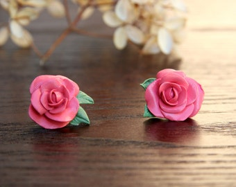 Autumn Pink Rose Stud Earrings