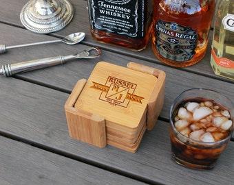 Personalized Coasters, Custom Coasters, Engraved Coasters, Custom Wedding Gift, Bamboo Square Coaster Set with Holder --cst-sbam-marcusjanet