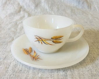 Vintage Anchor Hocking Fire King Golden Wheat Milk Glass Cup and Saucer, Mid Century Dishes, Milk Glass Dishes