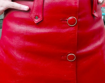 SALE // Vintage Red Leather Mini Skirt
