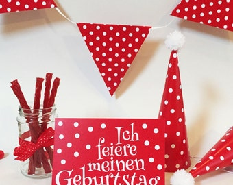 Children birthday set red with white points - for 15 guests - invitation party hat pennant Garland of Diecast
