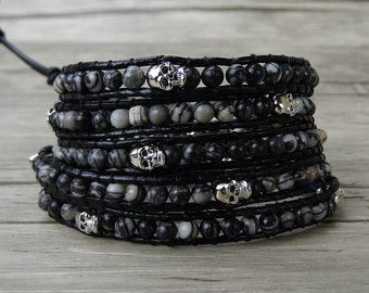 men wrap bracelet chic skull bead bracelet skull leather bracelet black boho wrap bracelet yoga bracelet bead wrap bracelet Jewelry SL-0256