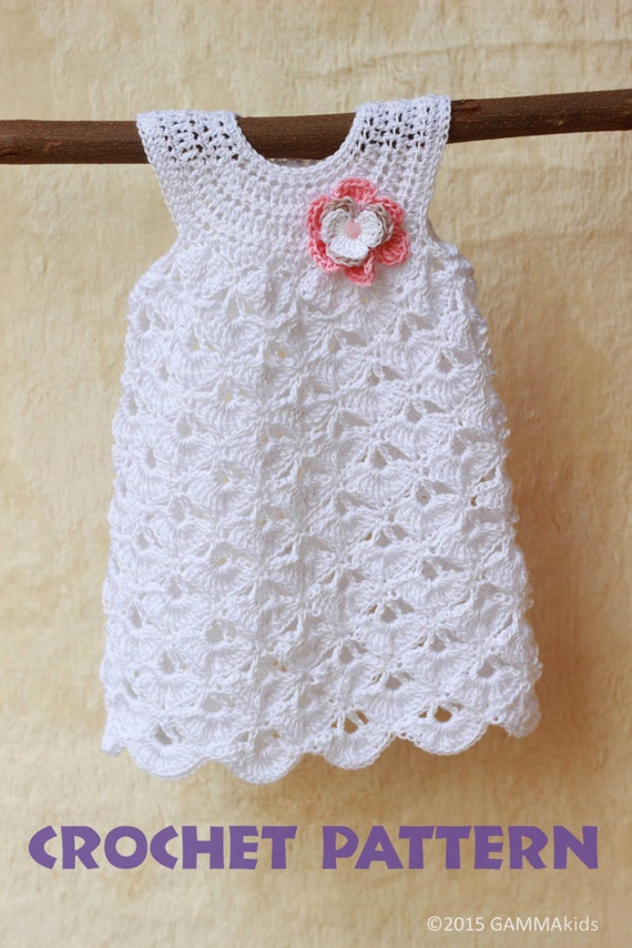 Crochet Baby Dress Set Pattern : Baby CROCHET PATTERN, Baptism baby girl dress pattern ...