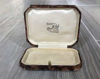 """Vintage Jewelry box, multi-brown colored """"Allan McLeod 178. High St. Falkirk."""""""