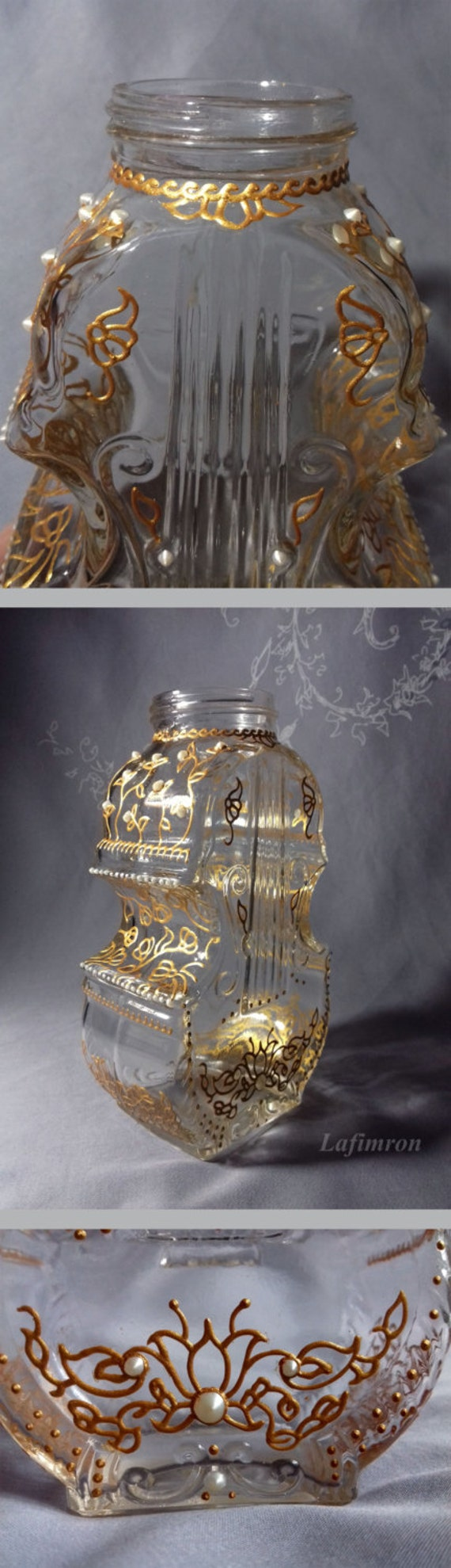 Wedding favors original home decor lace gold paint violin gift for Lace home decor