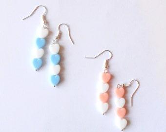 Pastel Hearts Earrings | Silver Plated Earrings | Dangle Drop Pastel Hearts