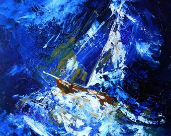 Painting Sailboat in the storm