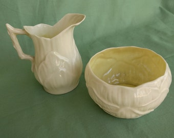 IRISH BELLEEK CREAMER and Sugar, Lily Pattern, Vintage, 4th Mark-Green mark, Collectible