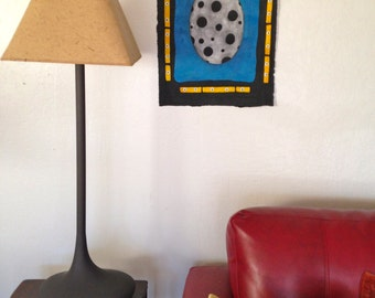 abstract art, original art, acrylic painting on paper, meditative art, ovals, dots, blue and black