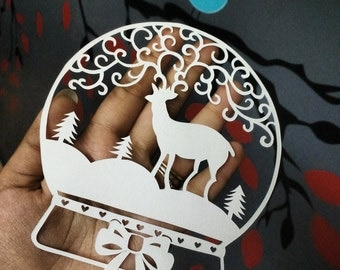 Christmas Stag in a Snow Globe DIY Papercut Template