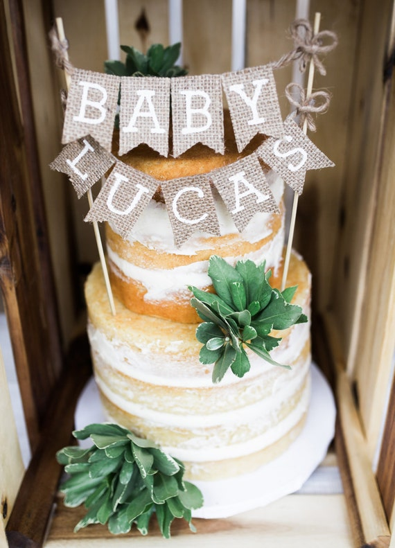 baby shower cake topper baby name cake topper rustic baby shower