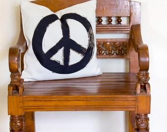 Peace Symbol Cushion, Peace Symbol Pillow, Black and White Pillow, Black and White Cushion, Peace Symbol Decor | CUS039