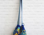 Large Blue and Yellow Wayuu Mochila Bag