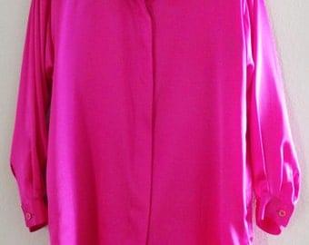 Vintage Rare JEANETTE For ST. MARTIN Fuchsia Silk Satin Dressy Top Blouse Button Shirt,L