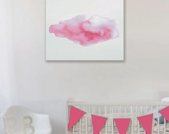 Pink Cloud Watercolour Art Print, Girls Nursery Print, Pink and White Cloud Artwork