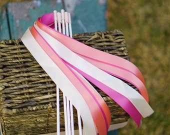 50 Wedding Ribbon Wands with Satin Ribbon / Wedding Ceremony Ribbon Wands / 3-Strand Ribbon Wands / Satin Ribbon Wands / Wedding Wands