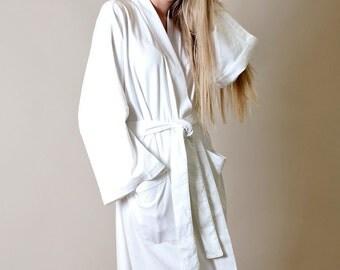Viverano 100% Organic Cotton Bath & Spa Robe, Kimono Style - Lightweight, Luxurious, Soft, Eco-Friendly, Non-Toxic (5 Colors)