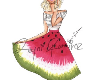 Instant download watermelon skirt fashion illustration printBle, fashion illustration, fashion sketch, fashion art, printable