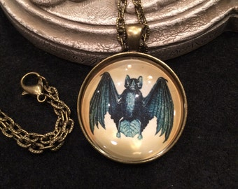 Vampire Bat Bronze or Silver Pendant Necklace Gothic Dracula Vampire Steampunk Wiccan