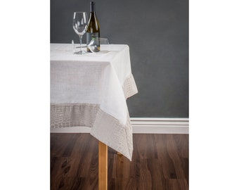 Linen table cloth with contrast crocodile print border - custom sizes - Free shipping in US!!!