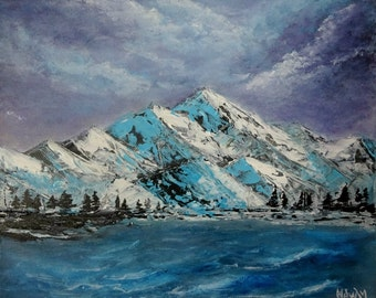 Snow Lake Painting Mountain Landscape Original Modern Abstract Landscape on Canvas