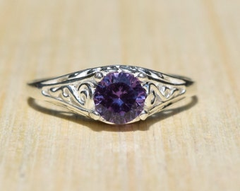 Silver Filigree Ring, Alexandrite Ring, Promise Ring, Sterling Silver Ring, June Birthstone, Alexandrite Jewelry