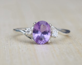 Alexandrite Ring, Silver Alexandrite Ring, Lab Alexandrite Ring, Multicolor Ring, Sterling Silver Ring