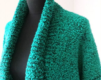 SALE 30% OFF!!! 80s Vintage Sweater Coat Emerald Green and Black Knit Oversize by Accent on You || Vintage Sz Large